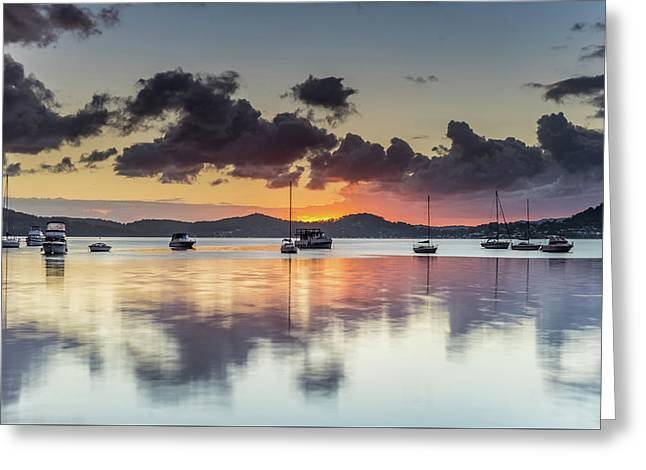 Overcast Morning On The Bay With Boats Greeting Card