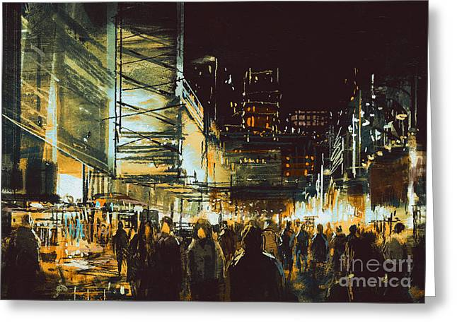 Painting Of Shopping Street City With Greeting Card