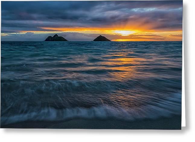 Sunrise Over Lanikai Beach  Oahu Greeting Card