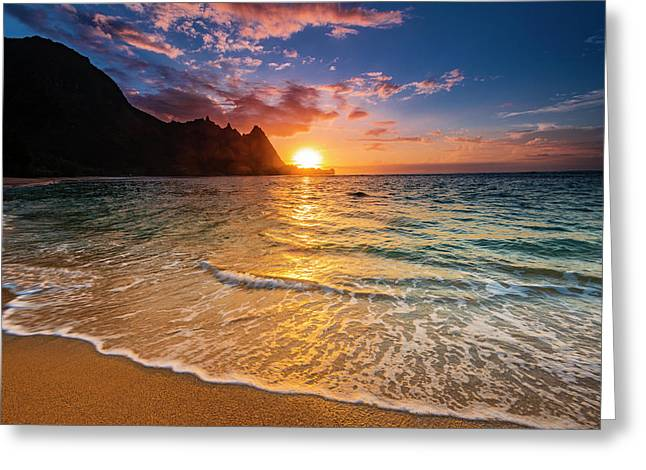 Sunset Over The Na Pali Coast Greeting Card