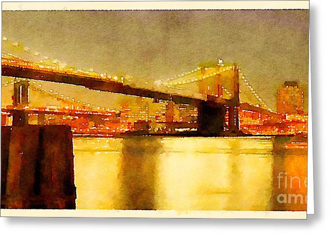Water Color New York City Scene Greeting Card by Trentemoller