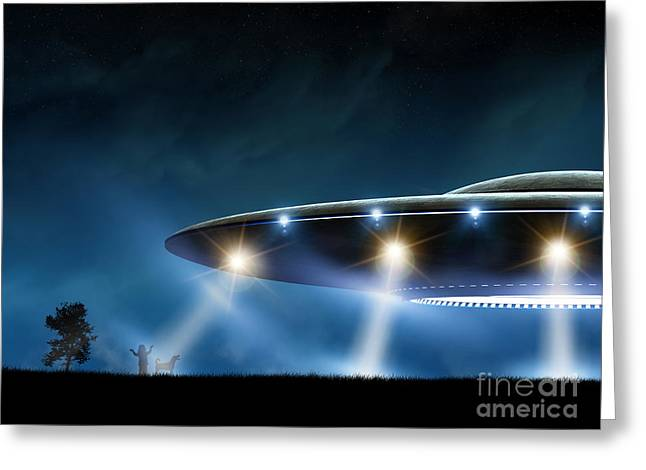 3d Rendering Of Flying Saucer Ufo On Greeting Card