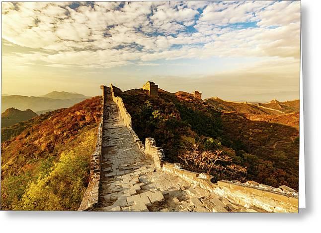 Great Wall Of China And Jinshanling Greeting Card by Adam Jones