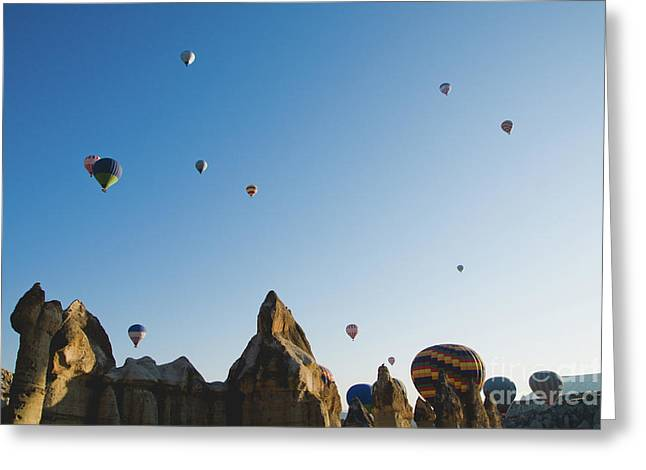 Colorful Balloons Flying Over Mountains And With Blue Sky Greeting Card