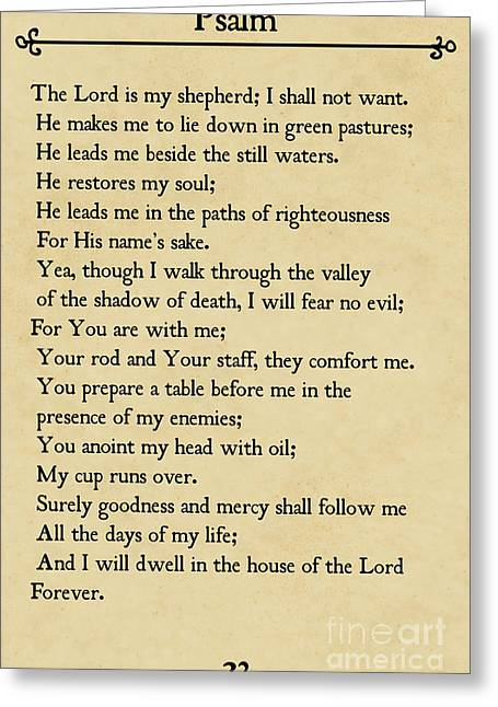 Psalm 23-bible Verse Wall Art Collection Greeting Card