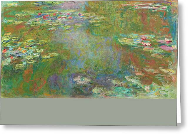 Greeting Card featuring the digital art Water Lily Pond by Claude Monet