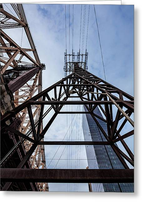 59th Street Bridge Roosevelt Island Tram And High Rise Building Greeting Card