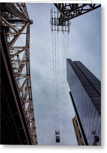59th Street Bridge Roosevelt Island Tram Andhigh Rise Building Greeting Card