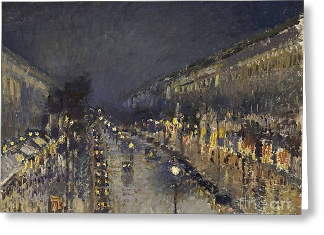 The Boulevard Montmartre At Night Greeting Card