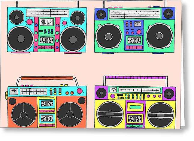 80s Boomboxes Greeting Card