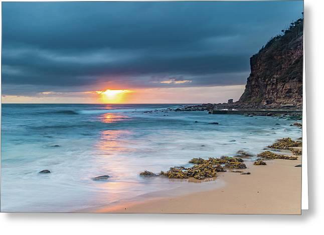 Sunrise Seascape And Cloudy Sky Greeting Card