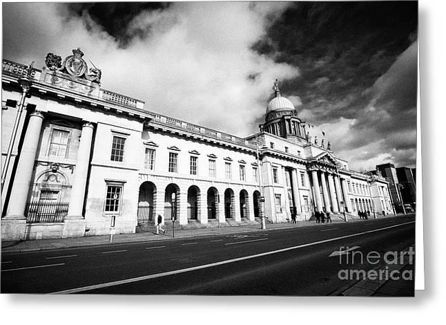 The Custom House Custom House Quay Dublin Republic Of Ireland Greeting Card by Joe Fox