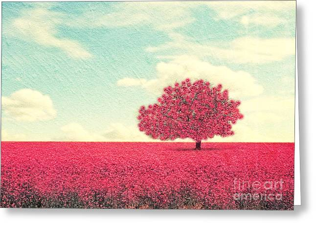 A Beautiful Tree In A Pretty Field Greeting Card