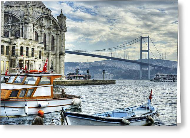 A Beautiful View Of Ortakoy Mosque And Greeting Card