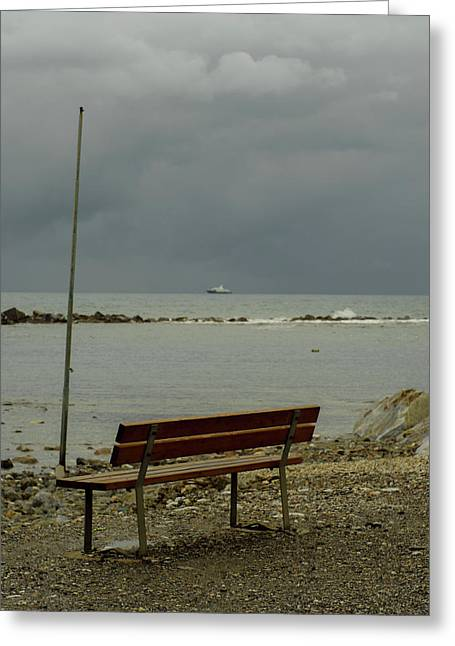 A Bench On Which To Expect, By The Sea Greeting Card