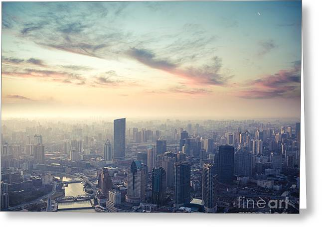 A Birds Eye View Of Shanghai At Dusk Greeting Card