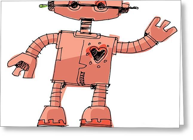 A Bit Wired Cute Robot - Cartoon Greeting Card