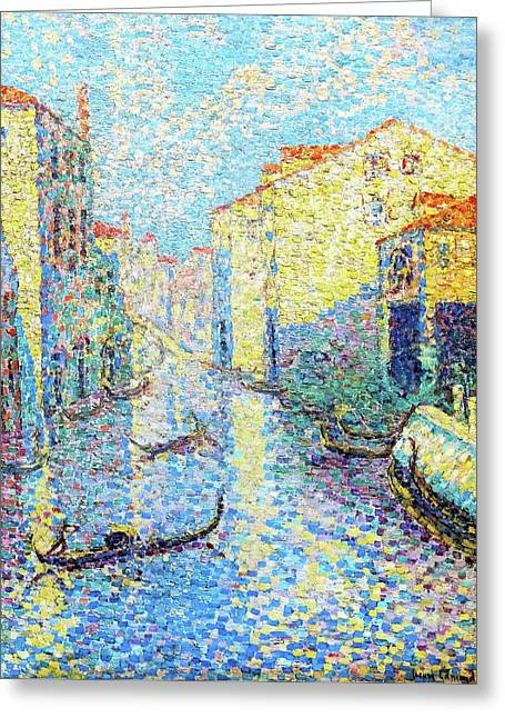 A Canal In Venice - Digital Remastered Edition Greeting Card