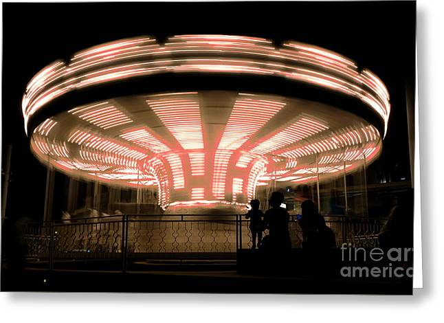Greeting Card featuring the photograph A Carousel By Night by Yali Shi