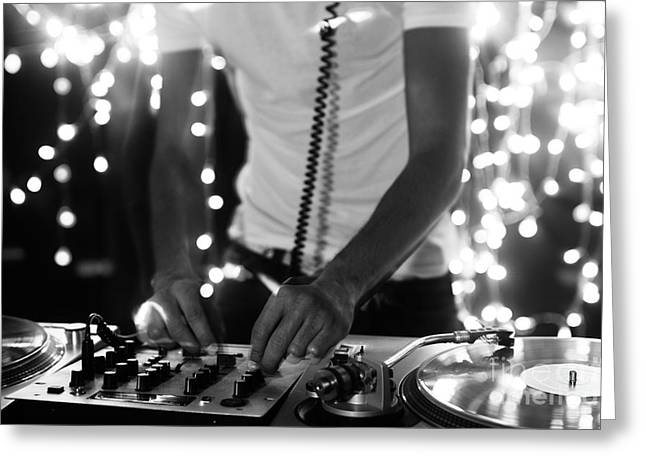 A Cool Male Dj On The Turntables Greeting Card