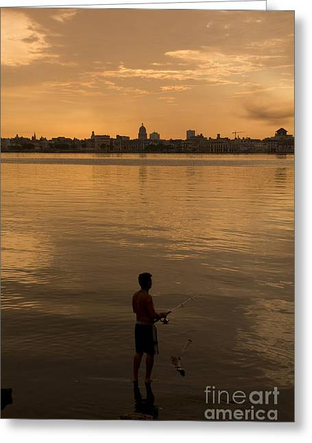 A Cuban Fishing Off The City Of Havana Greeting Card