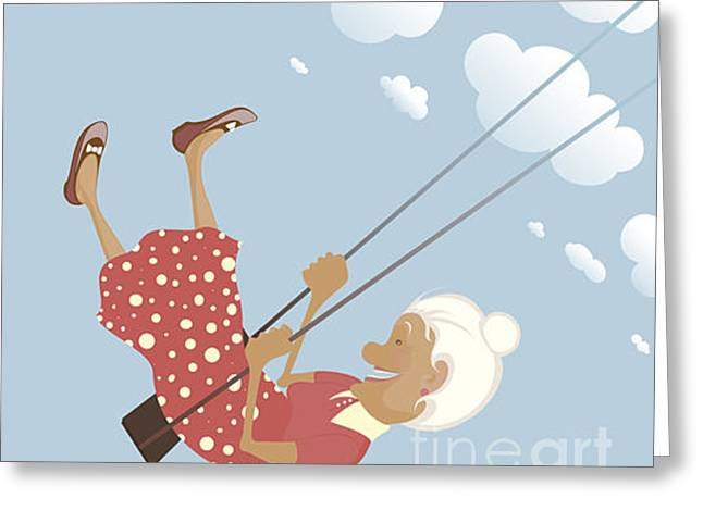 A Funny Granny On The Swing Is Happy Greeting Card