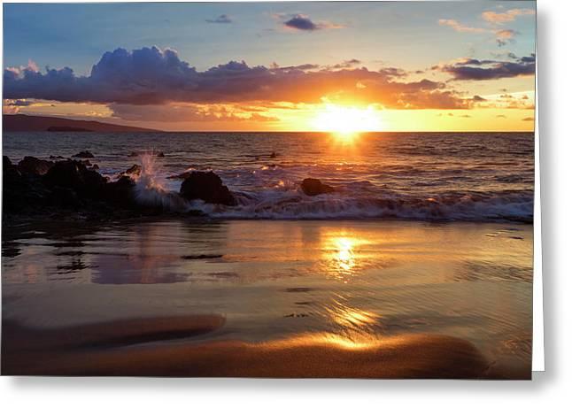 A Golden Sunset At A Beach  Makena Greeting Card