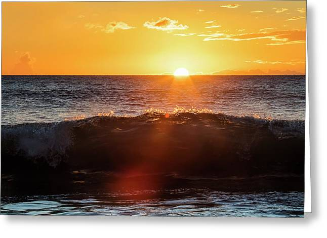 A Golden Sunset At Ulua Beach With Wave Greeting Card