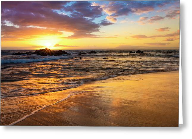 A Golden Sunset With Reflection On Sand Greeting Card