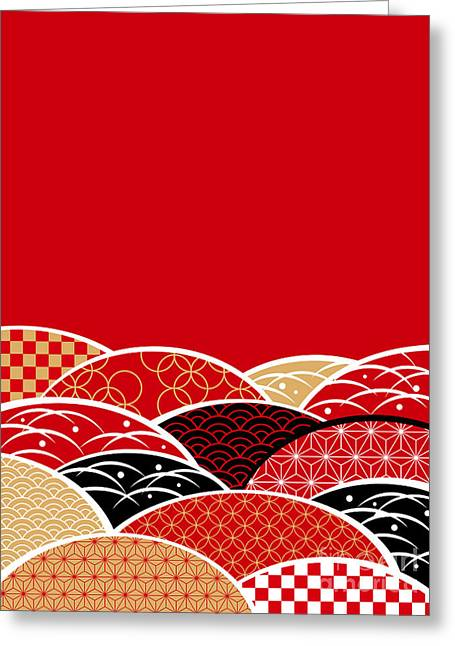 A Japanese Style Background Of Japan Greeting Card by Rie Sakae