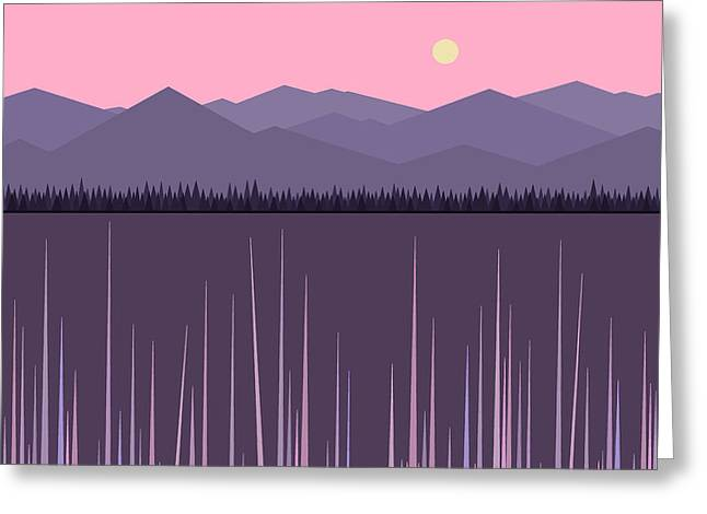 A Lake In The Mountains -  Pink Sky Greeting Card