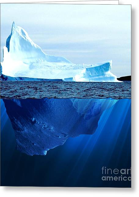 A Large Iceberg In The Cold Blue Cold Greeting Card