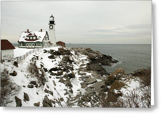 A Large Wreath Is Hung On Portland Head Greeting Card by Allan Wood Photography