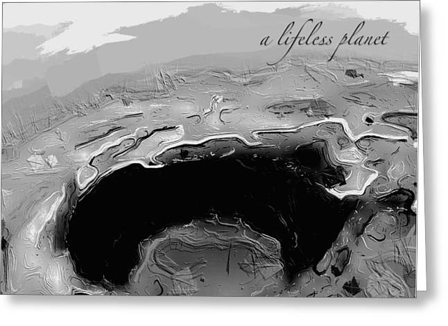 Greeting Card featuring the digital art A Lifeless Planet Black by ISAW Company