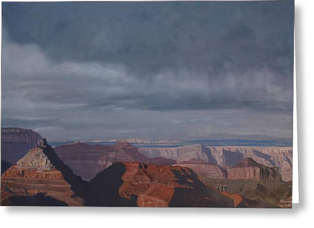 A Little Rain Over The Canyon Greeting Card