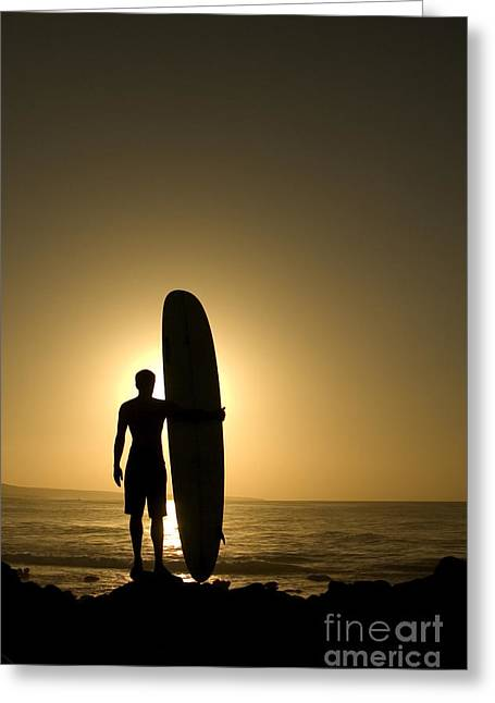 A Longboarder Watching He Waves At Greeting Card