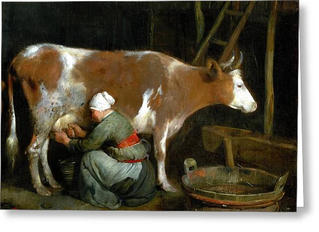 A Maid Milking A Cow In A Barn Greeting Card