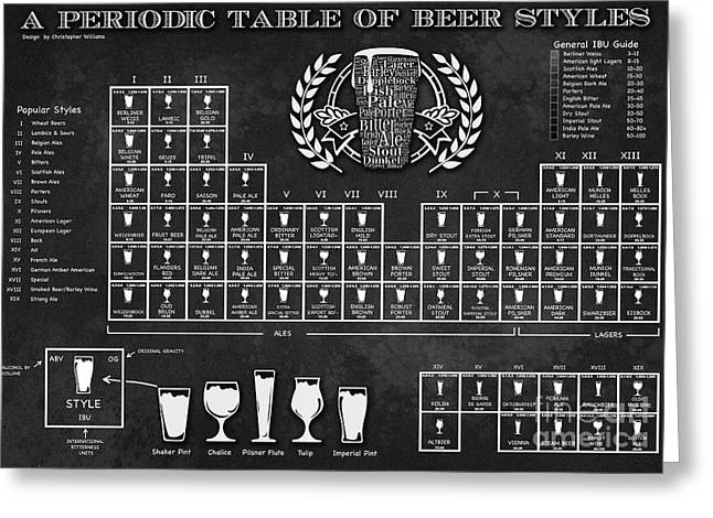 A Periodic Table Of Beer Styles Greeting Card by Christopher Williams