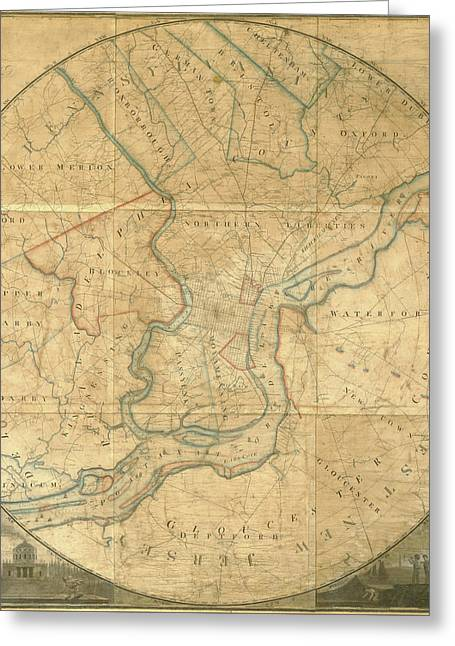 A Plan Of The City Of Philadelphia And Environs, 1808-1811 Greeting Card