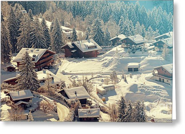 A Quaint Village In The Swiss Alps Greeting Card by Saphotog