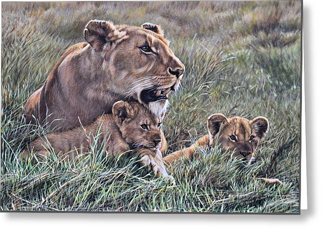 Greeting Card featuring the painting A Quiet Moment Lioness And Lion Cubs by Alan M Hunt