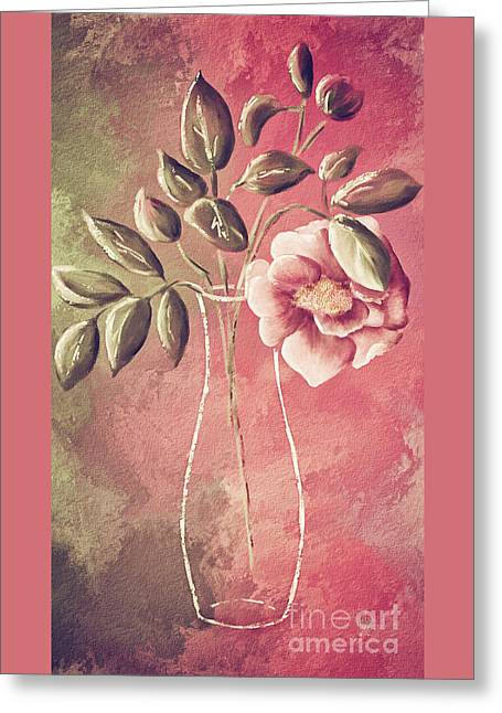 A Rose In A Vase Greeting Card