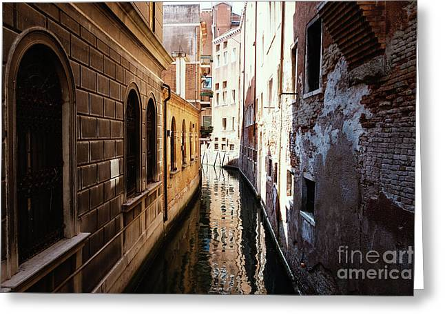 A Shadow In The Venetian Noon Narrow Canal Greeting Card