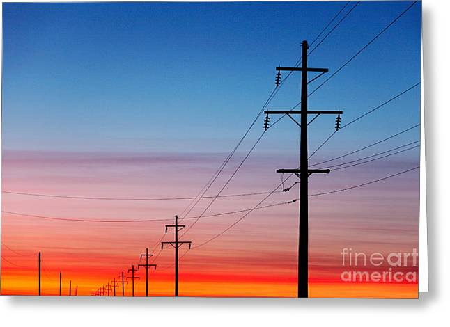 A Silhouette Of High Voltage Power Greeting Card