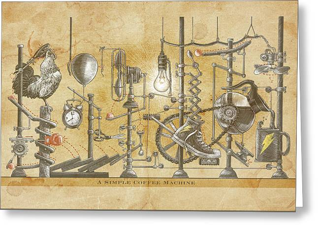 Greeting Card featuring the drawing A Simple Coffee Machine by Clint Hansen