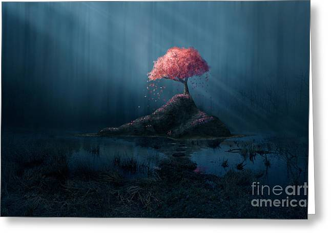 A Single Pink Tree In A Dark Blue Greeting Card