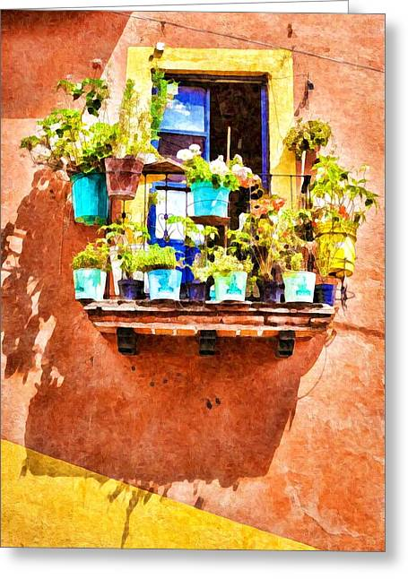 Greeting Card featuring the photograph A Small Suspended Garden In Mexico - Digital Paint by Tatiana Travelways