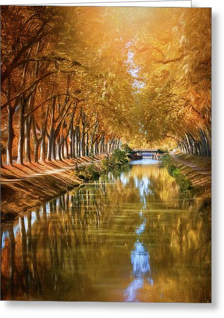 A Stroll Along Canal De Brienne Toulouse France  Greeting Card