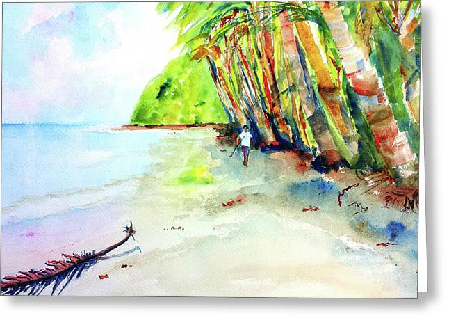 Greeting Card featuring the painting A Stroll On Batibou Beach 3 by Carlin Blahnik CarlinArtWatercolor
