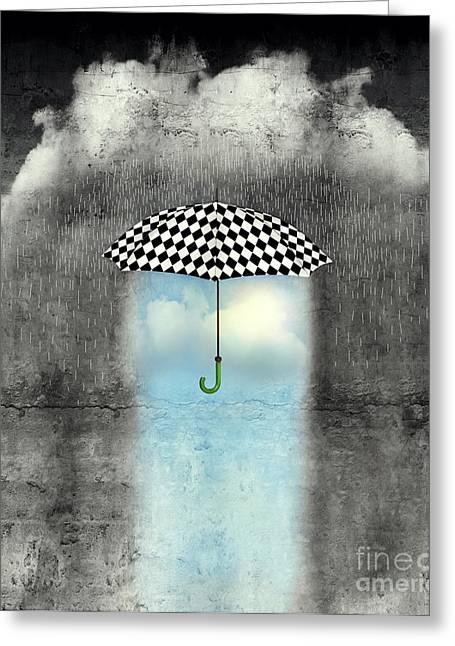 A Surreal Image Of An Umbrella Greeting Card
